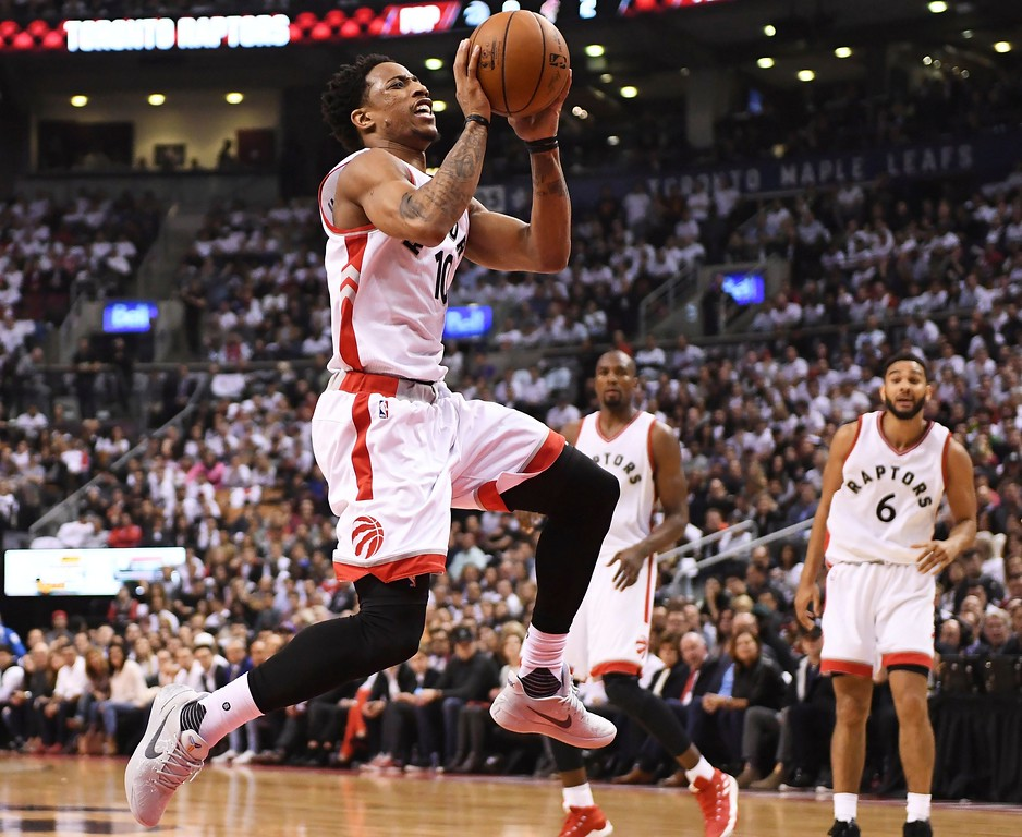. Toronto Raptors guard DeMar DeRozan (10) drives to the basket against the Cleveland Cavaliers during the first half of Game 3 of an NBA basketball second-round playoff series in Toronto on Friday, May 5, 2017. (Frank Gunn/The Canadian Press via AP)