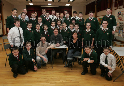 St Joseph's Boy's High School join in the celebration of 20 years of the Big Telly Theatre Company, Pictured are all of the pupils at St Joseph's who took part in the Drama Workshop with cast members, Zoe Seaton, James Doran and Maria Tecce. 07W8N23