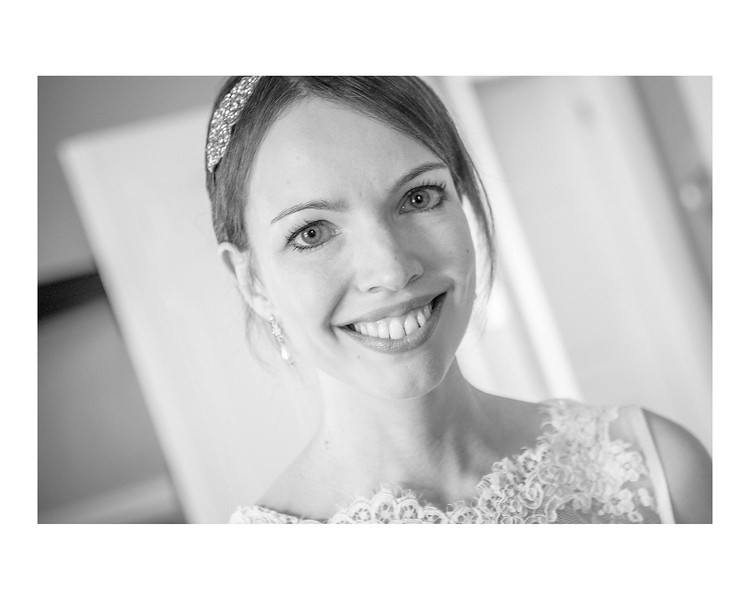 Wedding Photography of Susan & Ross, Barony Castle, Peebles, Scotland, Photograph is of the Bride close-up looking directly in the camera, Black & White