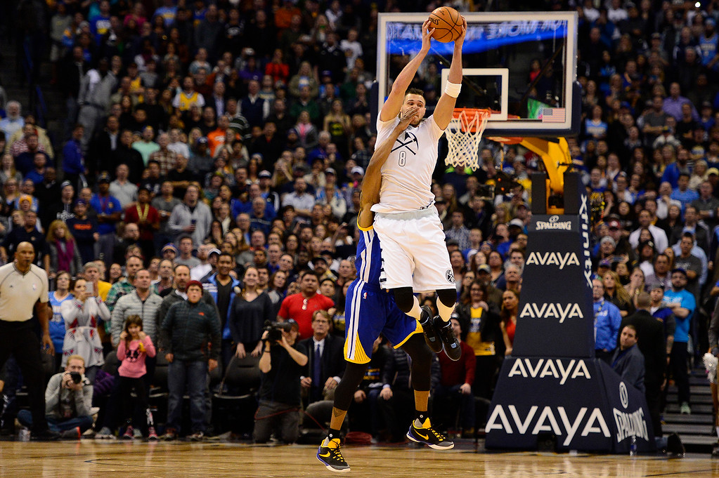 . DENVER, CO - JANUARY 13: Danilo Gallinari (8) of the Denver Nuggets grabs the inbound pass and gets fouled  during the second half at the Pepsi Center on January 13, 2016 in Denver, Colorado. The Nuggets defeated the Warriors 112-110, giving the Warriors their third loss of the season. (Photo by Brent Lewis/The Denver Post)