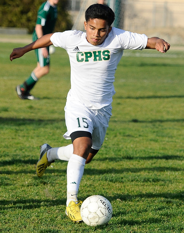 . March 4,2013. Canoga Park. Canoga Park #15 Ezequiel Quijada gets control of the ball, as Canoga took the win 2-0 over  Coronado high during the first round of Southern California Div. II boys soccer regional playoffs   Photo by Gene Blevins/LA DailyNews