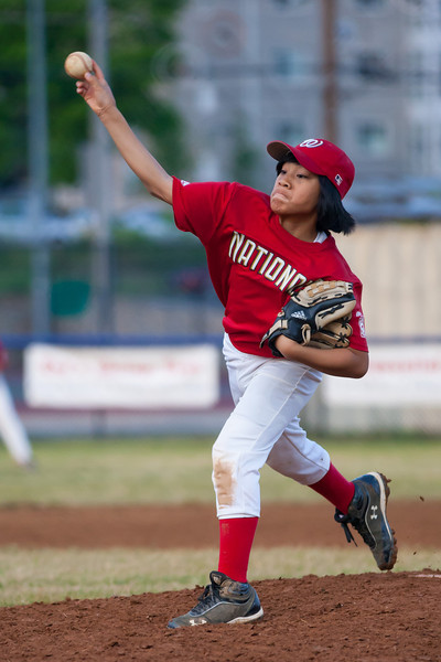 Alex pitching in the bottom of the 5th inning. The Nationals almost blew a big lead, but managed to hold off the Brewers to win 9-7. They are now 3-2 for the season. 2012 Arlington Little League Baseball, Majors Division. Nationals vs Brewers (26 Apr 2012) (Image taken by Patrick R. Kane on 26 Apr 2012 with Canon EOS-1D Mark III at ISO 1600, f2.8, 1/2000 sec and 182mm)