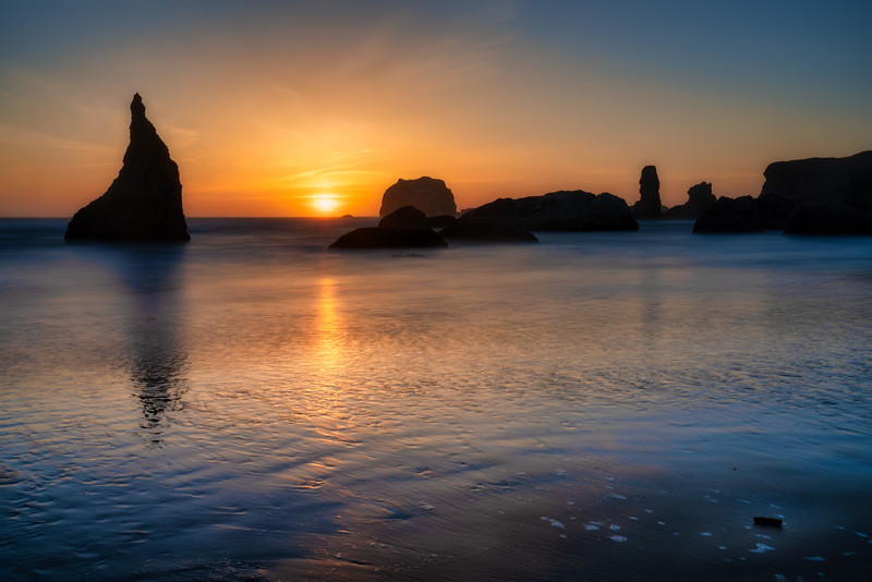 Bandon Beach and Wizard's Hat at Sunset