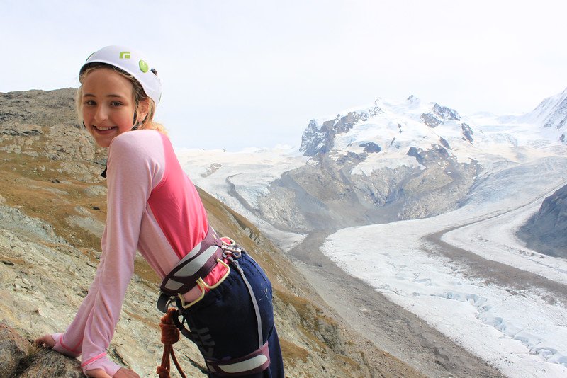 Paige enjoying the view with Monte Rosa in the background