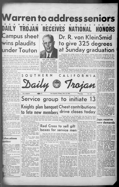 Daily Trojan, Vol. 36, No. 220, October 12, 1945