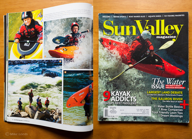 (photo left page upper right) Hayden Voorhees surfing the Bladder Wave on the Main Payette River in Idaho. Sun Valley Magazine Summer/Fall 2011
