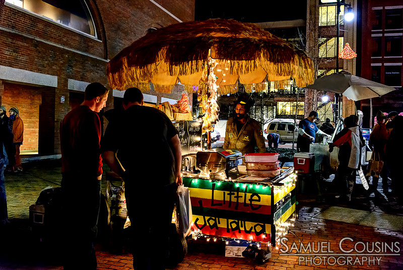 The Little Jamaica food cart in front of the Portland Museum of Art, during the First Friday Art Walk