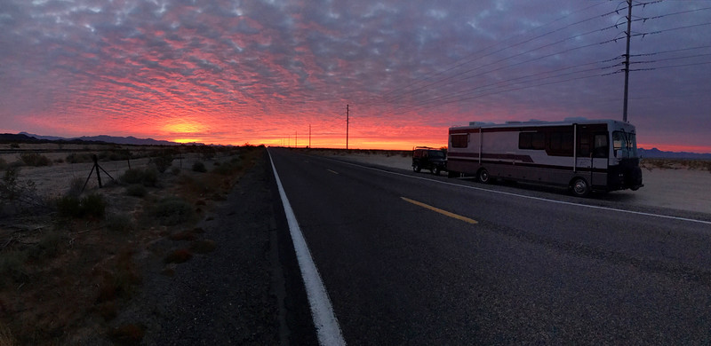 Photo courtesy of Dad-early bird gets the good sunrise pictures. On the road again....