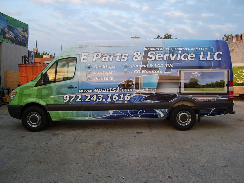 Vehicle Wrap installed on a Sprinter Van for E Parts and Services.     http://www.skinzwraps.com