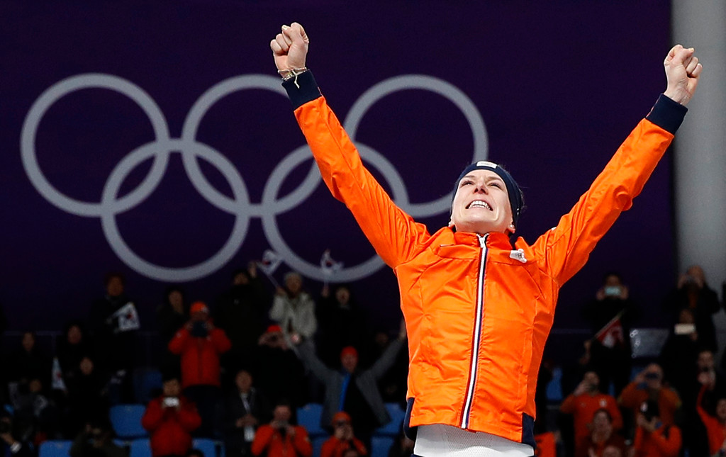 . Gold medallist Ireen Wust of Netherlands celebrates after the women\'s 1,500 meters speedskating race at the Gangneung Oval at the 2018 Winter Olympics in Gangneung, South Korea, Monday, Feb. 12, 2018. (AP Photo/Vadim Ghirda)