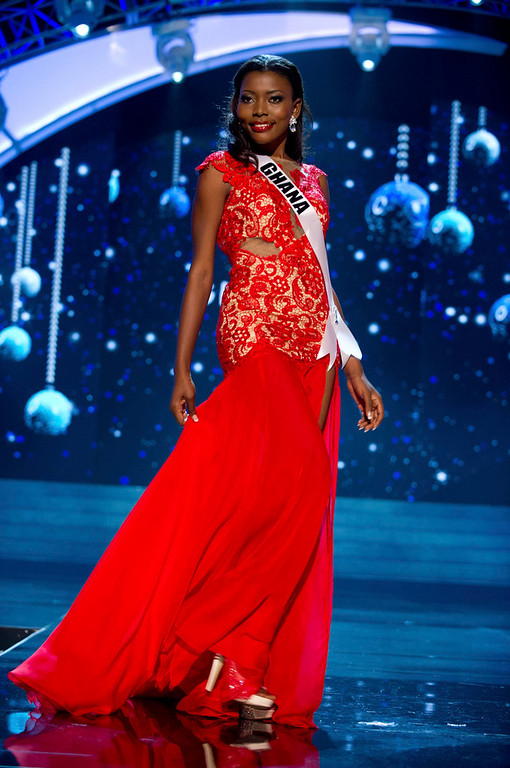 . Miss Ghana 2012 Gifty Ofori competes in an evening gown of her choice during the Evening Gown Competition of the 2012 Miss Universe Presentation Show in Las Vegas, Nevada, December 13, 2012. The Miss Universe 2012 pageant will be held on December 19 at the Planet Hollywood Resort and Casino in Las Vegas. REUTERS/Darren Decker/Miss Universe Organization L.P/Handout
