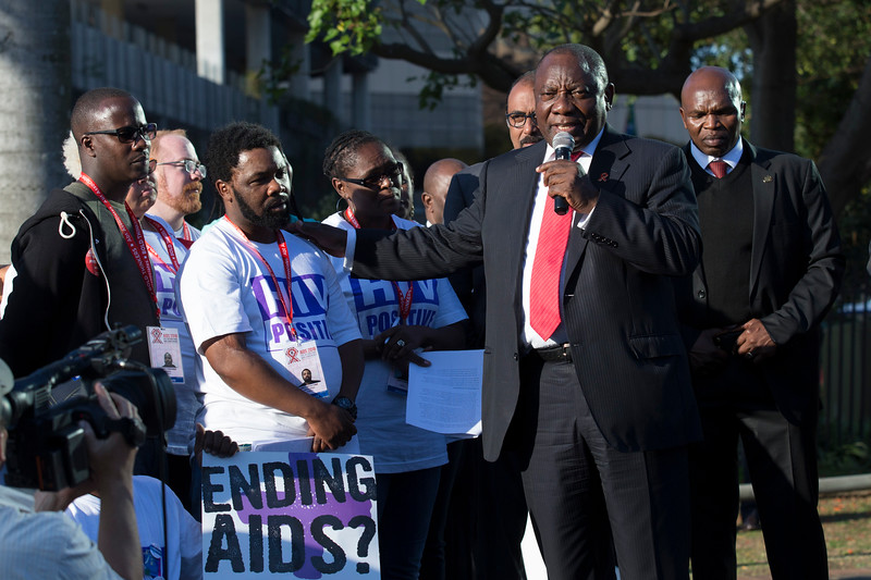 21st International AIDS Conference (AIDS 2016), Durban, South Africa. Photo shows TAC March. South Africa Deputy President Cyril Ramaphosa (right) speaks with Anele Boyce Yawa during the TAC March in Durban, 18 July, 2016. Photo©International AIDS Society/Rogan Ward)