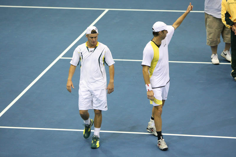 12 April 2008 Townsville, Qld, Australia - Lleyton Hewitt and Paul Hanley celebrate their Davis Cup doubles match win over Thailand's Weerapat Doakmaiklee and Kirati Siributwong.  Australia took the match in straight sets taking the round three rubbers to nil - Photo: Cameron Laird (Ph: 0418 238811)
