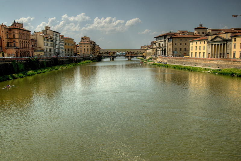 The Ponte Vecchio  and Arno River in Florence, Italy