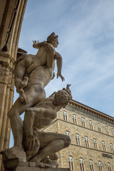 The Rape of the Sabine Women (Giambologna, 1583) at Loggia dei Lanzi. Here, rape comes from the Latin raptio, meaning abduction.