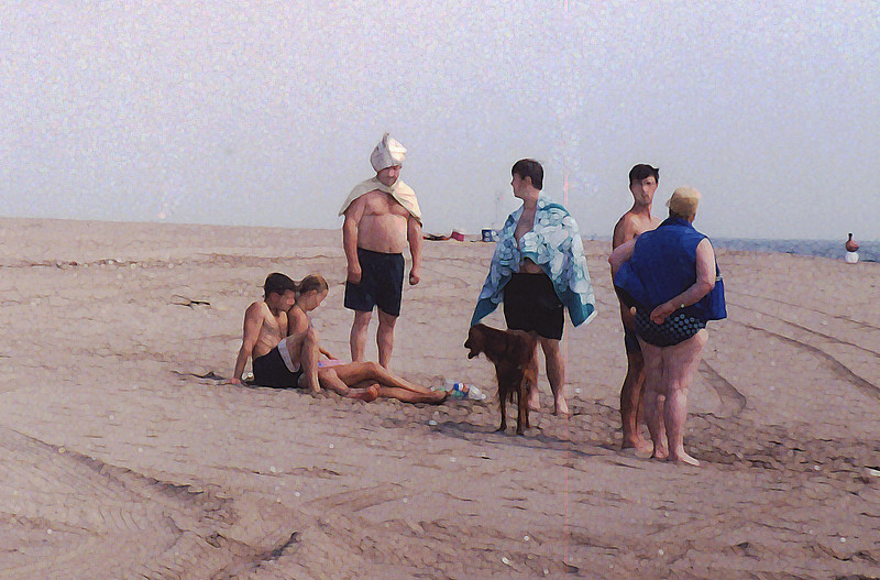 people on beach daubs.jpg