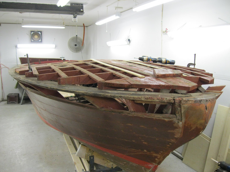 Front starboard view of top plank removed so we can replace the top plate.