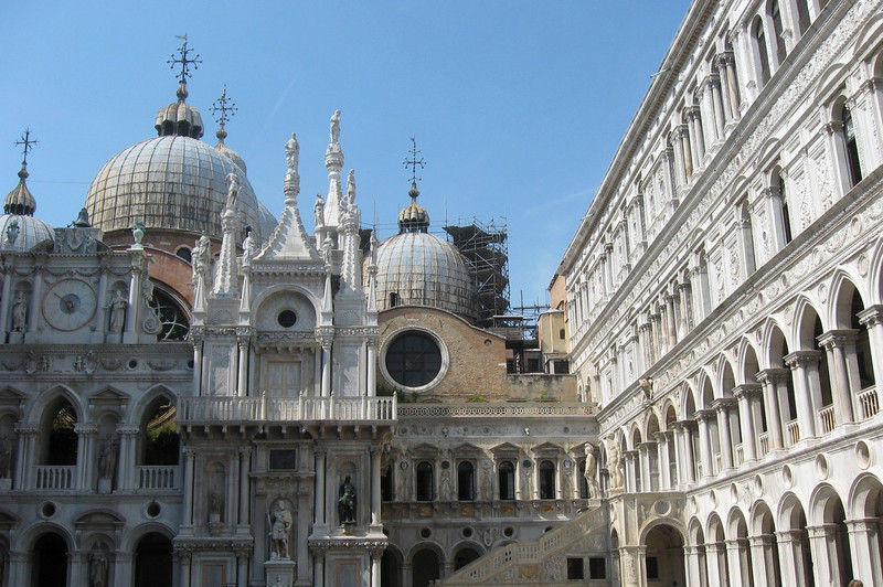 San Marco Square--the Doge's Palace in the foreground, the byzantine Basilica in the rear (by day).