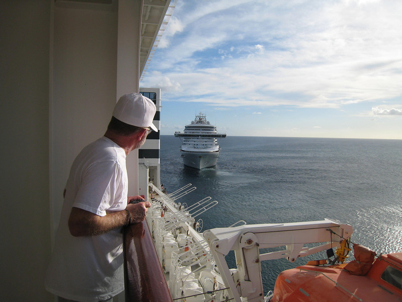Here's David supervising the departure of the Emerald Princess