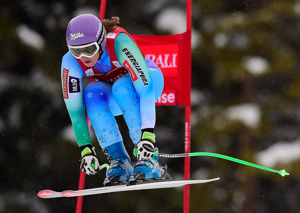 . Tina Maze, of Slovenia, races down the course during the women\'s World Cup downhill ski race in Lake Louise, Alberta, Saturday, Dec. 6, 2014. (AP Photo/The Canadian Press, Frank Gunn)