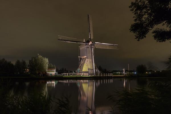 Verlichte molens op Kinderdijk