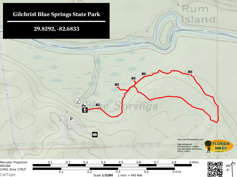 Gilchrist Blue Springs Trail Map