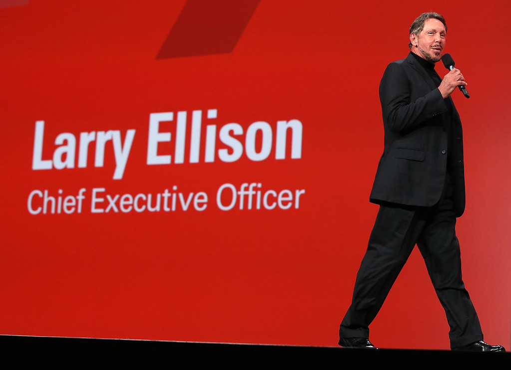. Oracle CEO Larry Ellison delivers a keynote address during the 2012 Oracle Open World conference on Sept. 30, 2012, in San Francisco, Calif. (Justin Sullivan/Getty Images)