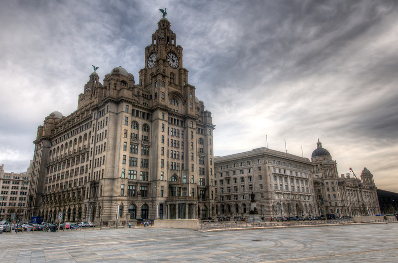 Wide shot of the Royal Liver Building in Liverpool, England