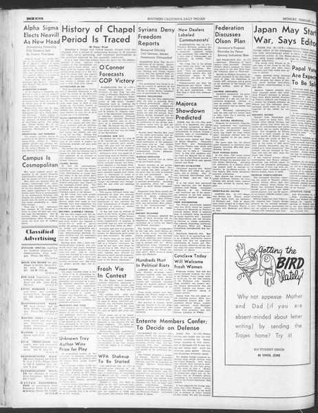 Daily Trojan, Vol. 30, No. 82, February 20, 1939