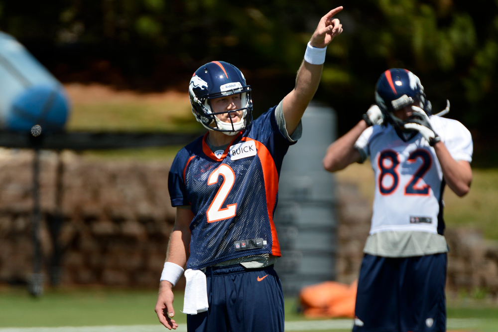 . Rookie quarterback # 2 Zac Dysert pointing the route during Broncos rookie minicamp at the Broncos Dove Valley facility May 10, 2013 Centennial, Colorado. (Photo By Joe Amon/The Denver Post)