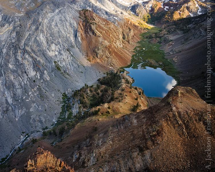 Evening light on canyon of metamorphic rock, John Muir Wilderness