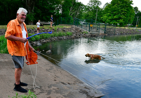 7/17/2019 Mike Orazzi | Staff Larry Palin with his dog Gansett while at Crescent Lake Wednesday afternoon in Southington.