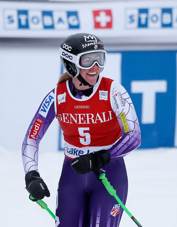 . Stacey Cook, of the United States, reacts in the finish area following her run in the women\'s World Cup downhill ski race in Lake Louise, Alberta, Saturday, Dec. 6, 2014. (AP Photo/The Canadian Press, Jeff McIntosh)