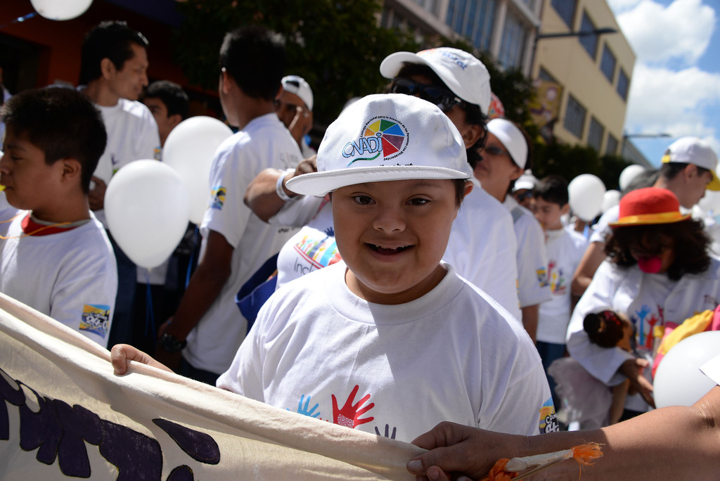 . A children with Down syndrome take part in the celebration of the World Down Syndrome Day in Guatemala City, on March 21, 2014. Today marks the 9th anniversary of World Down Syndrome and focuses on supporting all people with Down syndrome on their right to access healthcare without discrimination.  JOHAN ORDONEZ/AFP/Getty Images
