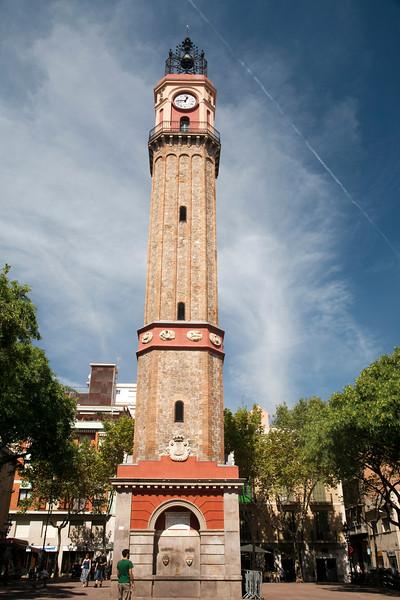 Clock Tower, Gracia quarter, town of Barcelona, autonomous commnunity of Catalonia, northeastern Spain