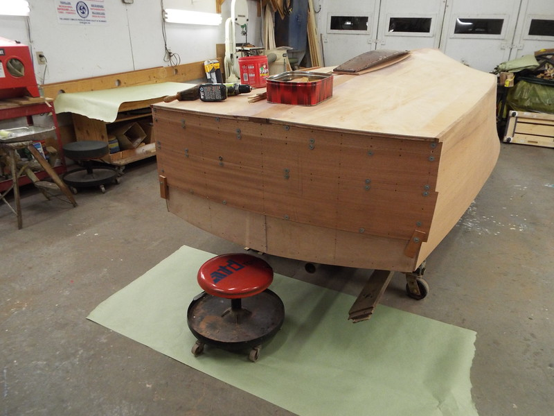 New transom planks fit. The top plank will be installed after the rear deck is in place.