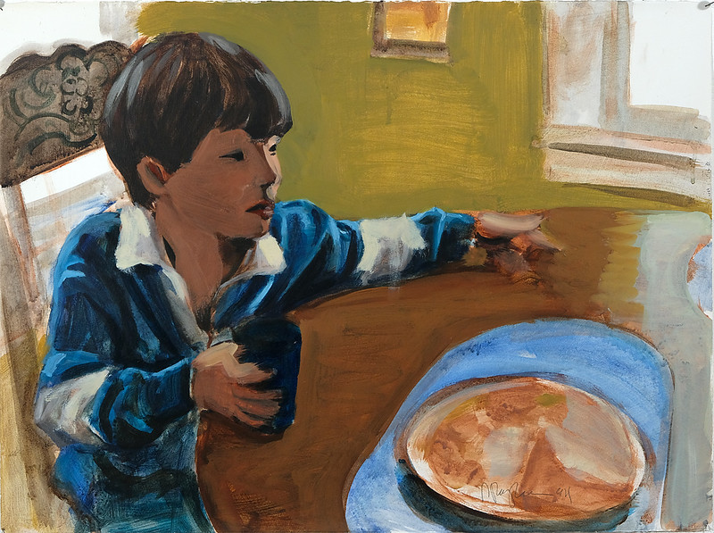 Child at table; acrylic on paper, 22 x 30 in, 1994
