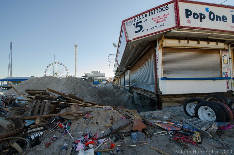 SEASIDE HEIGHTS, NJ/USA- JANUARY 18, 2013: The basement of a Seaside Heights, New Jersey boardwalk business devastated by hurricane Sandy is cleaned out on January 18, 2013.