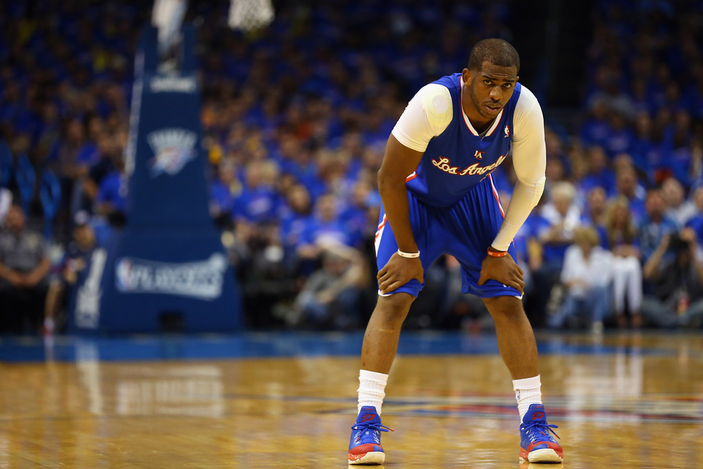 . Chris Paul #3 of the Los Angeles Clippers during play against the Oklahoma City Thunder in Game One of the Western Conference Semifinals during the 2014 NBA Playoffs at Chesapeake Energy Arena on May 5, 2014 in Oklahoma City, Oklahoma.  (Photo by Ronald Martinez/Getty Images)