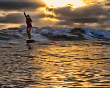 Lady Surfing At Sunset