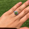 2.48ctw Yellow-Green Round Brilliant Diamond Cluster Ring 26