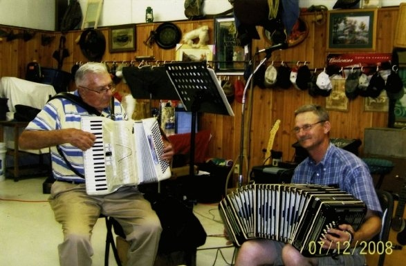 My Great Uncle Zigmund Jozwiak and I playing together for my Uncle Henry's birthday party on July 12, 2008 in Chappell Hill, Texas. That day, he told me the story of my grandfather.