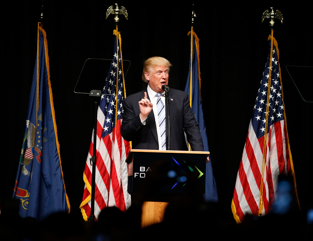 . Republican presidential candidate Donald Trump speaks at the Williston Basin Petroleum Conference, Thursday, May 26, 2016, in Bismarck, N.D. (AP Photo/Charles Rex Arbogast)