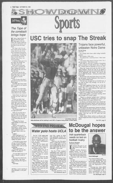 Daily Trojan, Vol. 121, No. 38, October 22, 1993