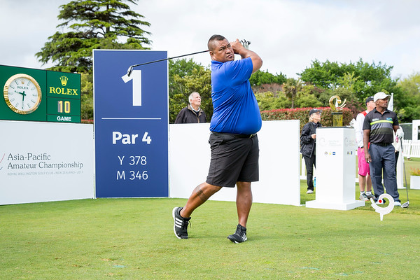 Pelefoti Sagapolutele from American Samoa  hitting off the 1st tee on Day 1 of competition in the Asia-Pacific Amateur Championship tournament 2017 held at Royal Wellington Golf Club, in Heretaunga, Upper Hutt, New Zealand from 26 - 29 October 2017. Copyright John Mathews 2017.   www.megasportmedia.co.nz