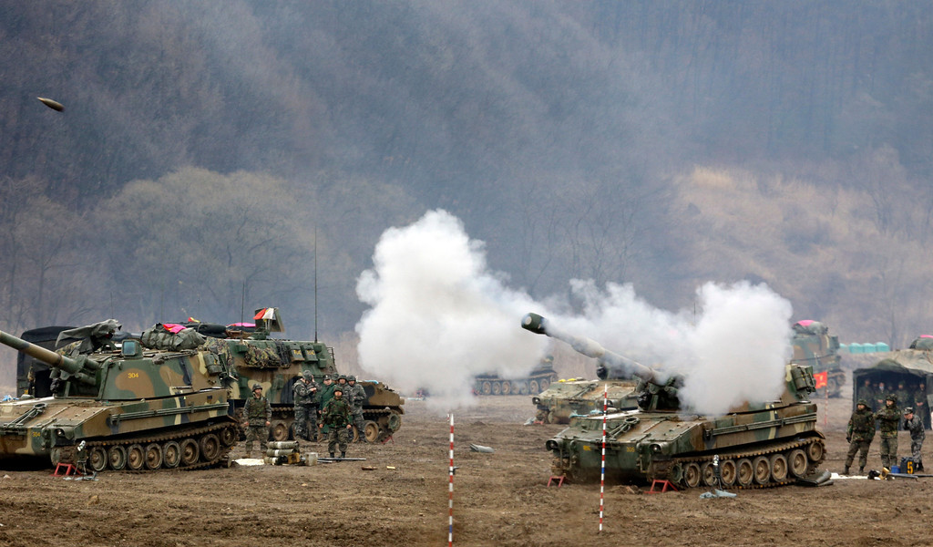 . South Korean marine\'s K-55 self-propelled howitzer fires during a military exercise in the border city between two Koreas, Paju, north of Seoul, South Korea, Tuesday, April 2, 2013. North Korea vowed Tuesday to restart a nuclear reactor that can make one bomb\'s worth of plutonium a year, escalating tensions already raised by near daily warlike threats against the United States and South Korea. (AP Photo/Lee Jin-man)