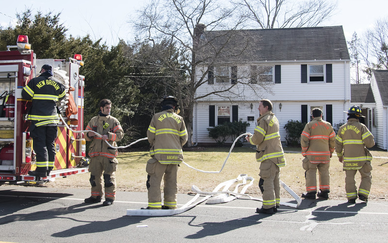02/19/20   Wesley Bunnell | Staff  New Britain Fire responded to a kitchen fire at 223 Barbour St on Wednesday afternoon with a report of one person suffering from smoke inhalation.  Firemen prepare to leave by rolling up hose.
