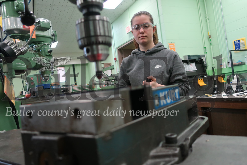 Riley Rodgers, 16, of Meridian demonstrates usage of an industrial mill. Rodgers has participated in several training programs at Penn United, and is currently earning state certifications in the manufacturing company's pre-apprenticeship program. Tanner Cole/Butler Eagle