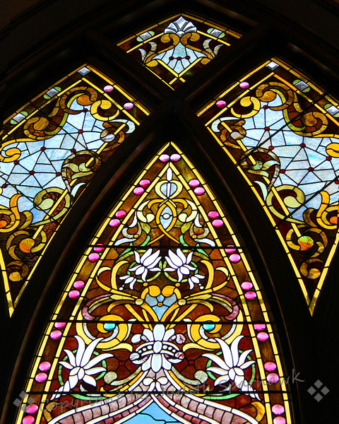 Design at the Top ~ I was invited to visit a beautiful little church in Riverside, California, to photograph the stained glass windows.  The windows were amazing, with such detail and beautiful colors.  The church was built in the 1800's, and has intreresting architecture.  It was a joy to see and photograph the windows.