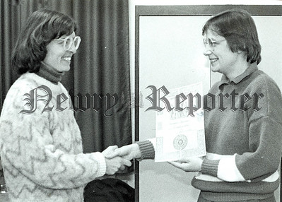 Bernadette Miroudot Left for Granville, France, receives her Gaelic League certificate for Bairbre De Brún